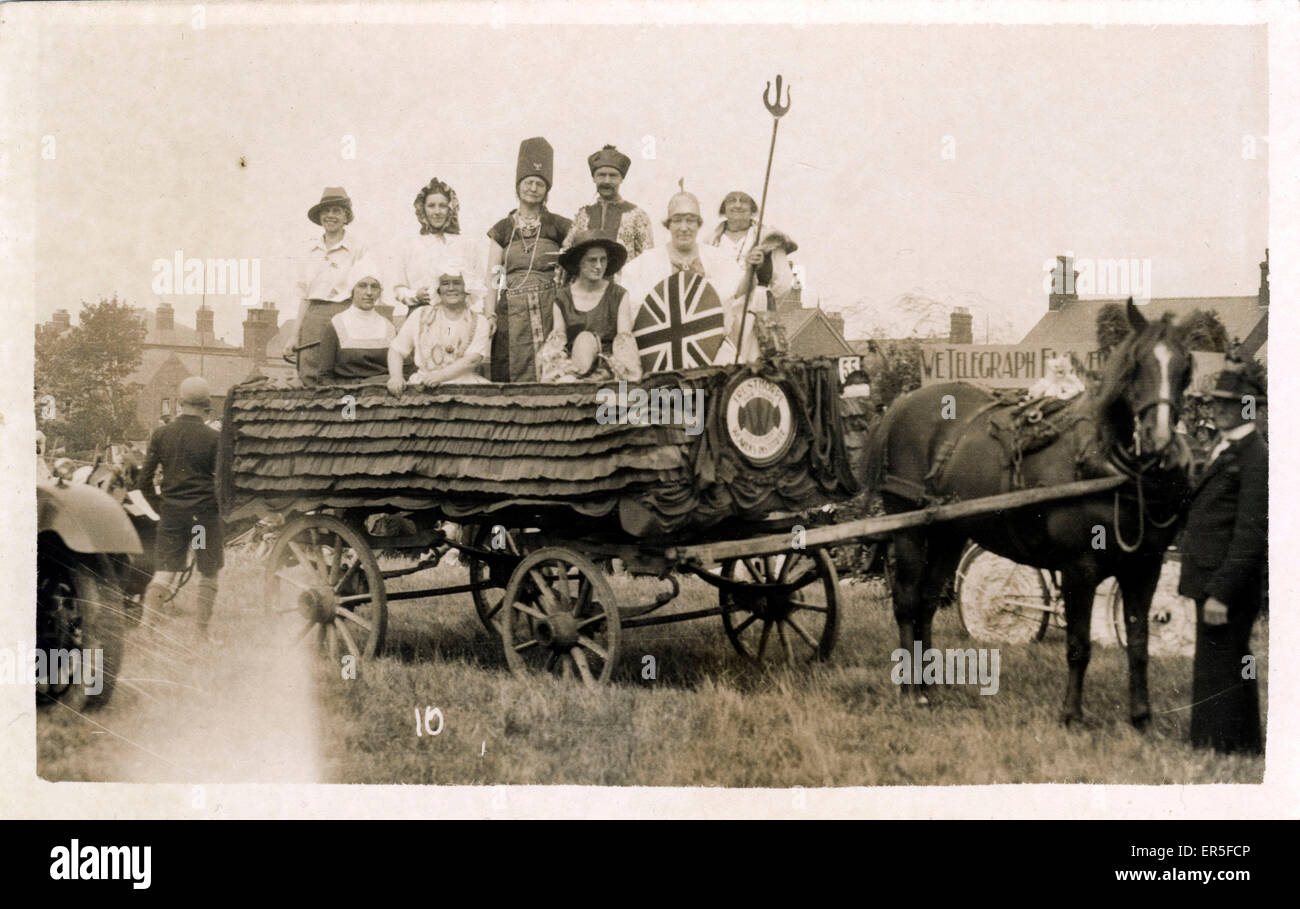 Carnival Float, Mablethorpe, near Sutton-on-Sea, Lincolnshire, England. Showing Horse & Cart  1934 - Stock Image