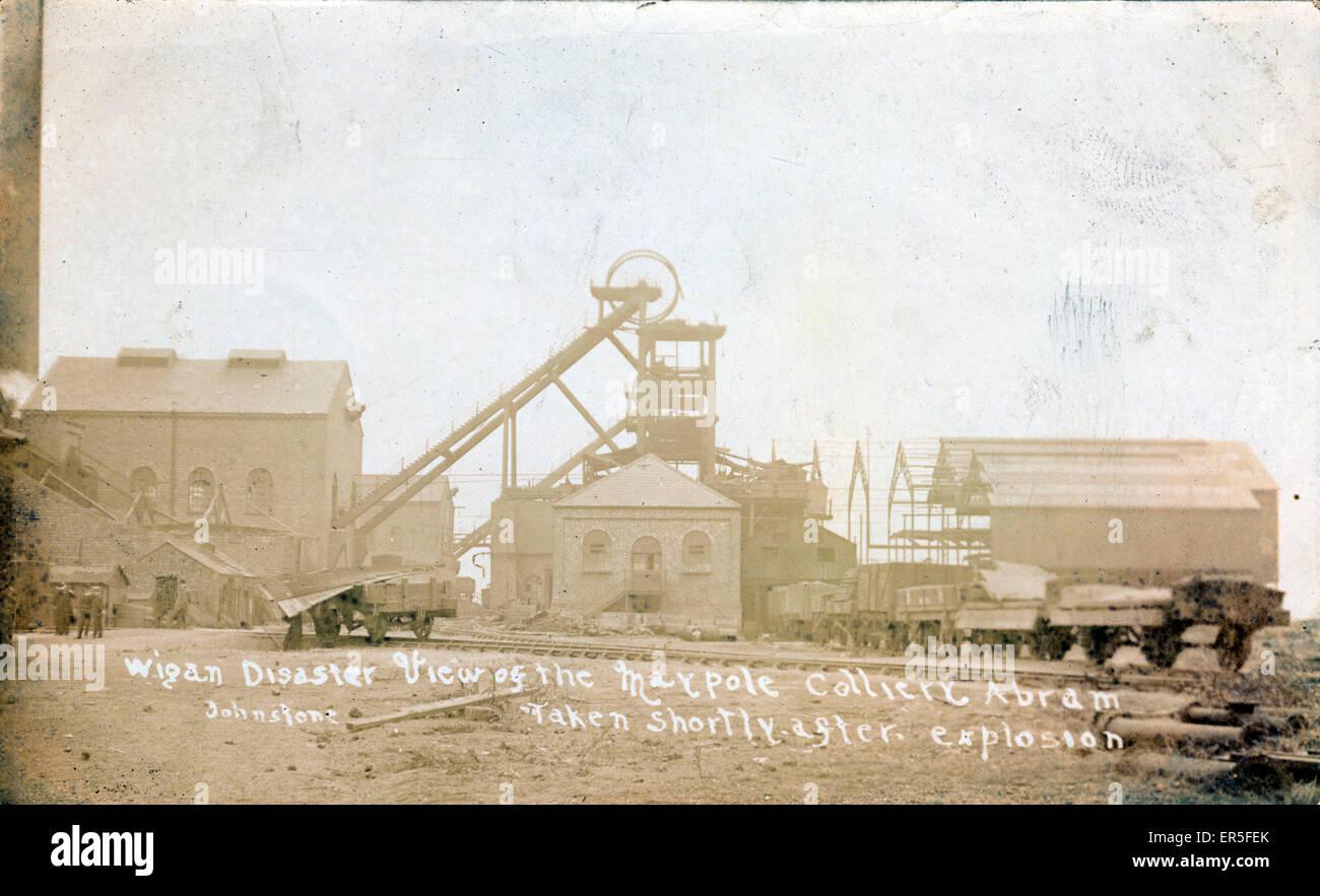 Maypole Colliery Disaster, Abram, Wigan, near Platt Bridge, Lancashire, England. Showing the scene shortly after - Stock Image