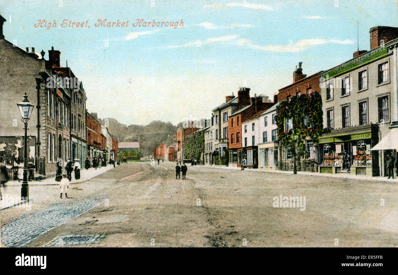 High Street, Market Harborough, near Corby, Leicestershire, England.  1905 - Stock Image