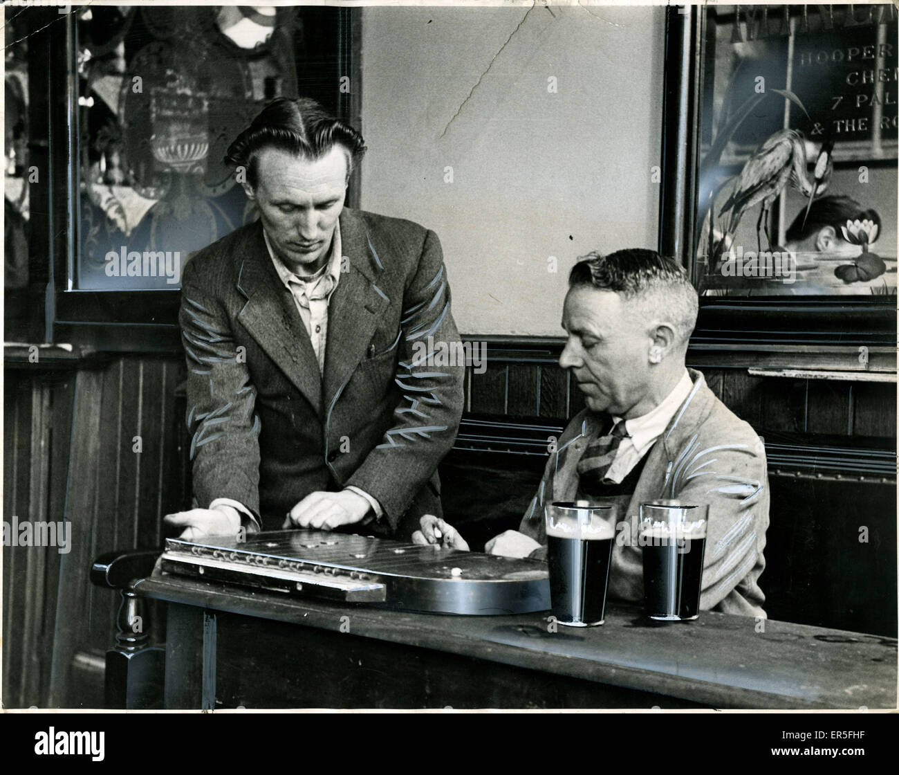 Bar Games - Black Dog Public House, Shoe Lane, Fleet Street, County of London, England.  1949 - Stock Image