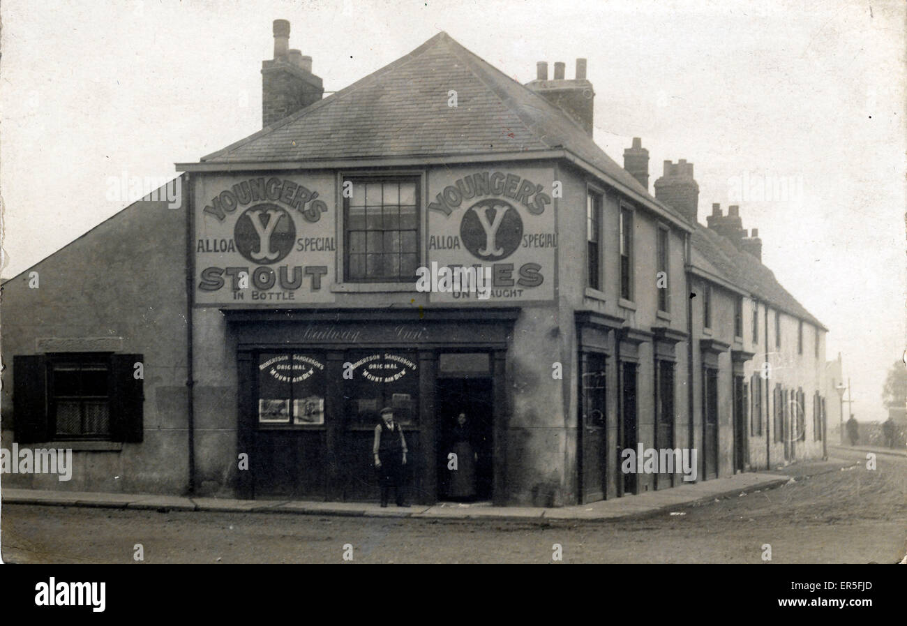 Street Scene, Ryhope, Sunderland, near Seaham, County Durham, England. Showing the Railway Inn  1910s - Stock Image