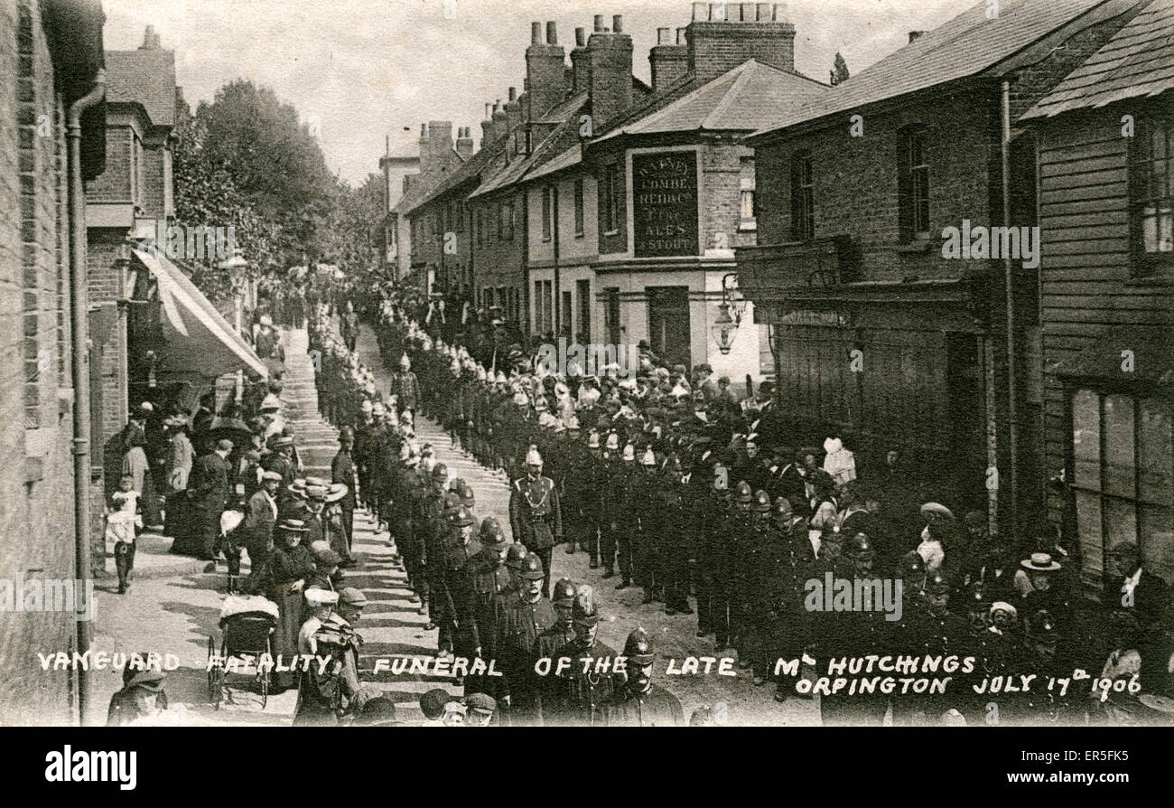 Funeral Procession of M Hutchings, Orpington, London, near Swanley, County of London, England. 'Vanguard Fatality' - Stock Image