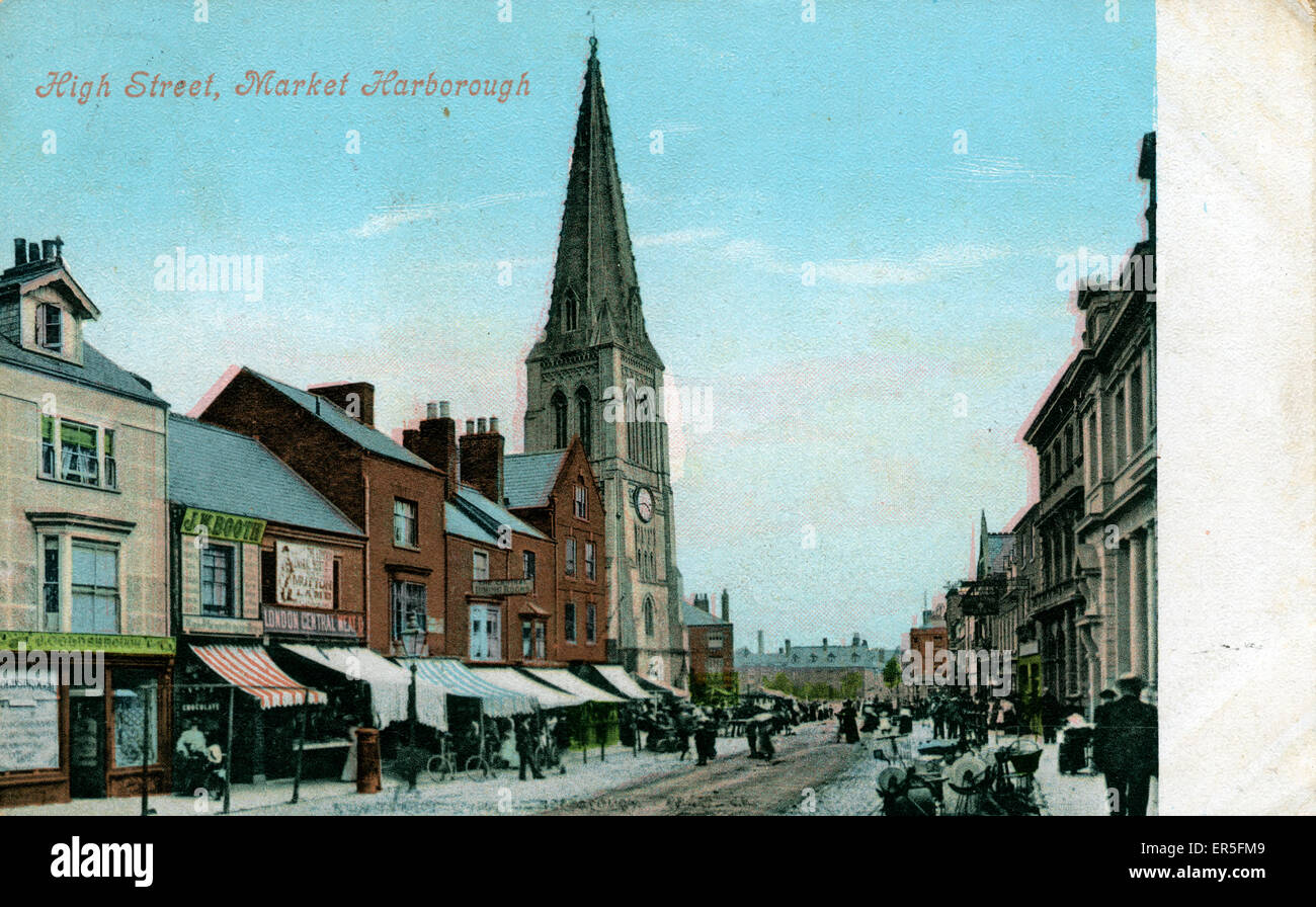 High Street, Market Harborough, near Corby, Leicestershire, England. Showing St Dionysius Church  1907 - Stock Image