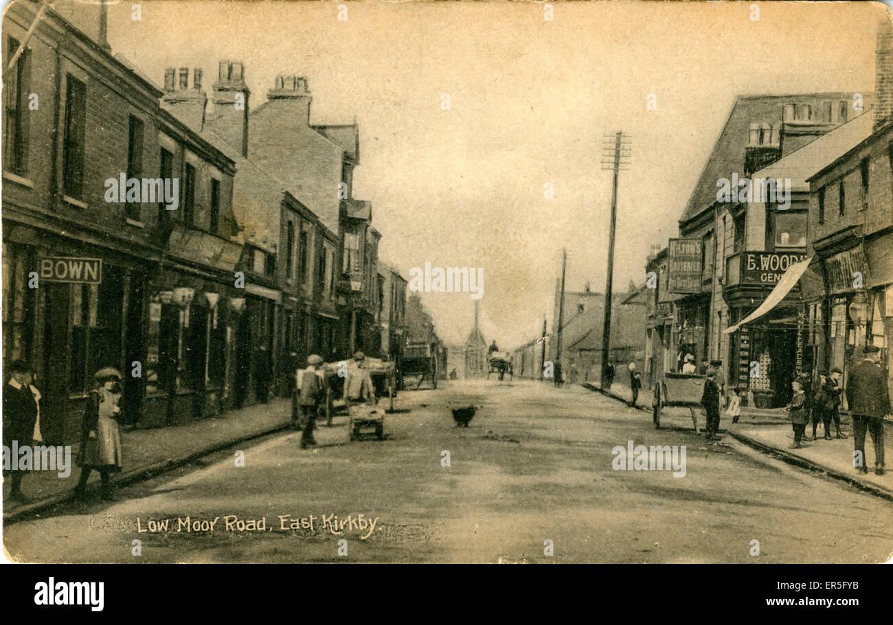Low Moor Road, East Kirkby, Mansfield, near Sutton in Ashfield, Nottinghamshire, England.  1919 - Stock Image