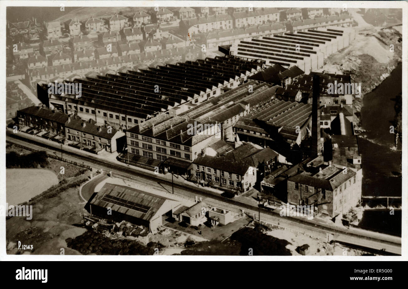 Aerial: Textile Mill, Unknown location, England.  1910s - Stock Image