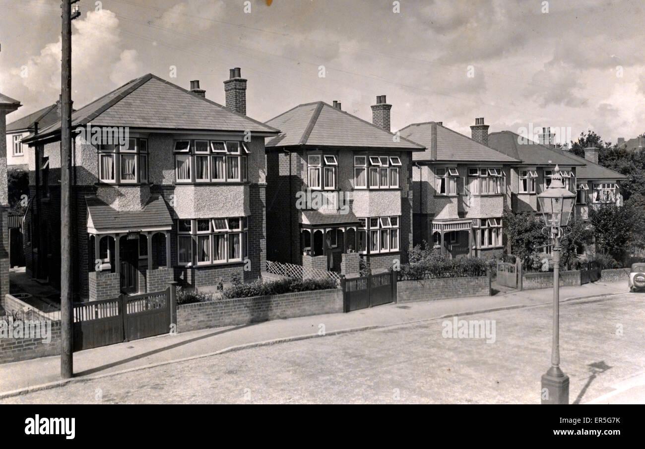 Semi Detached Houses, Bournemouth, Devon, England.  1920s - Stock Image