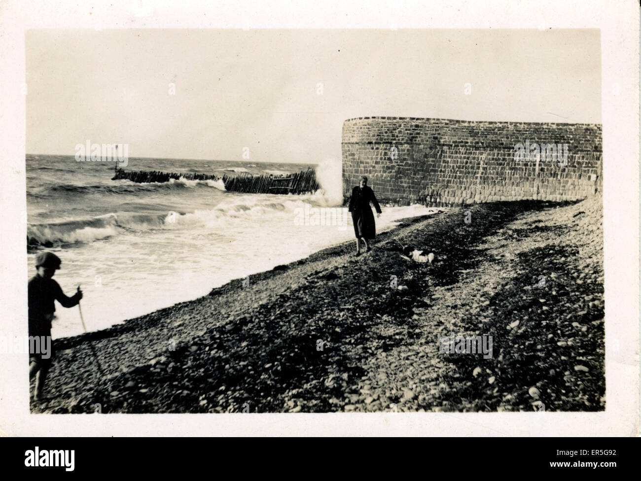 Windy Beach, Thought to be at Aberaeron, near Llan-non, Cardiganshire, Wales.  1932 - Stock Image