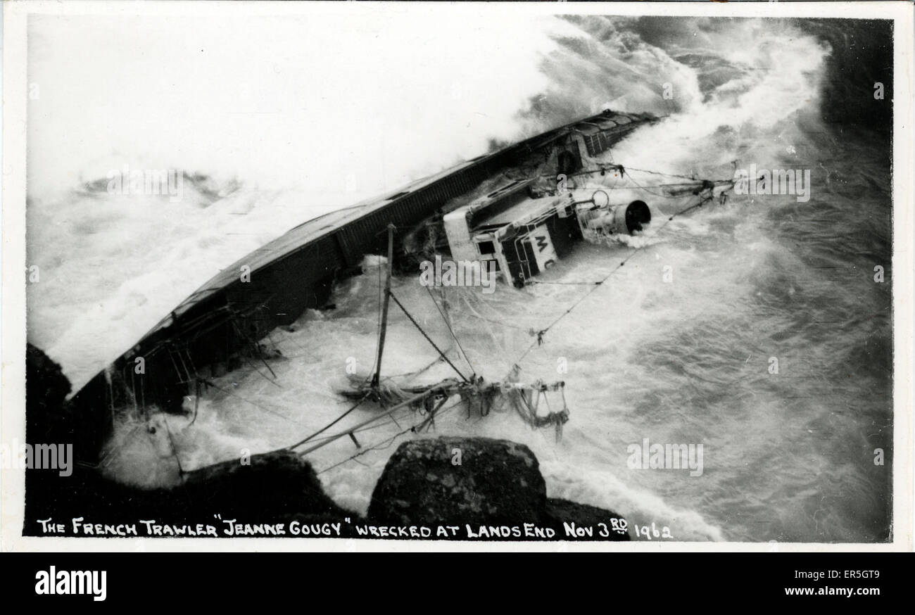 Ship Disaster - Wreck of the French Trawler Jeanne Gougy, Lands End, Sennen, near Carn Towan, Cornwall, England. - Stock Image