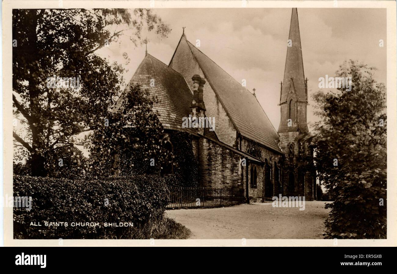 All Saints Church, Shildon, near Bishop Auckland, County Durham, England.  1930s - Stock Image