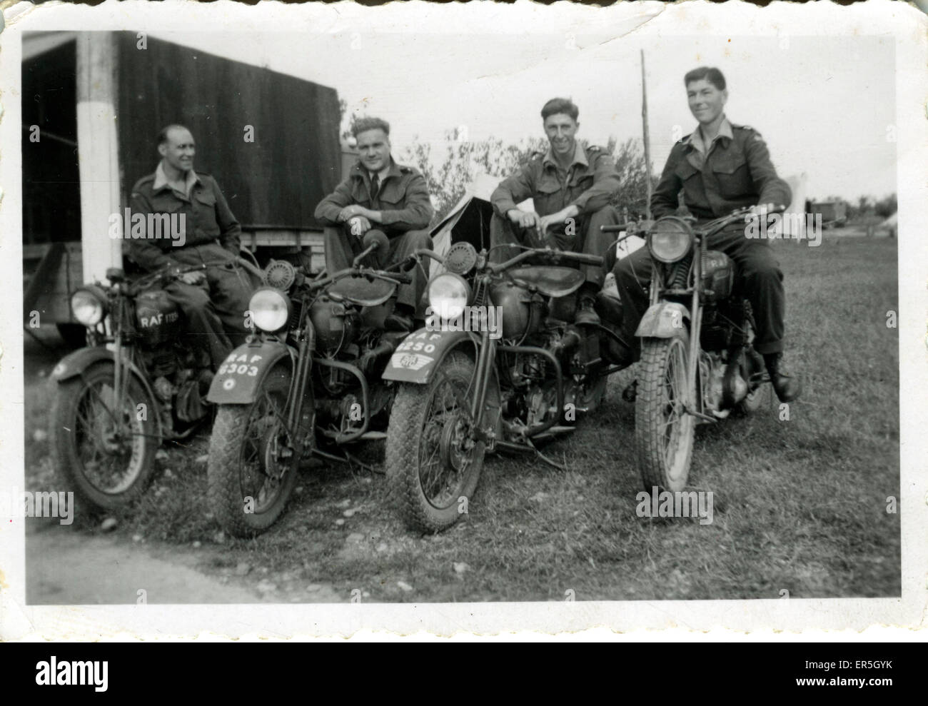 World War 2 RAF Motorcycles, England.  1940s - Stock Image