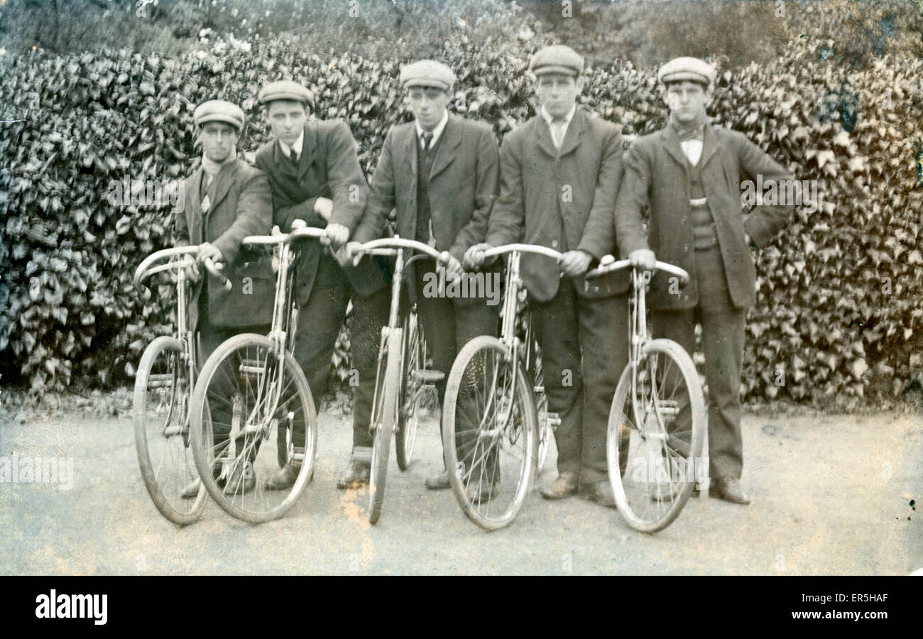 Five Cyclists of the Twenties, .  1920s - Stock Image
