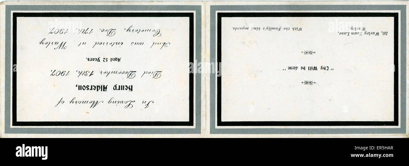 Remembrance Card, Warley, Halifax, near Sowerby Bridge, Yorkshire, England.  1907 - Stock Image