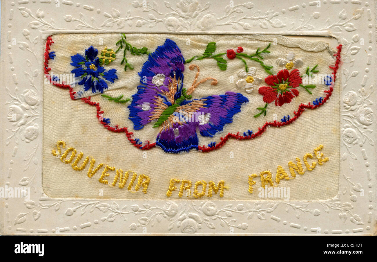 Greetings from france stock photos greetings from france stock world war 1 silk embroidered greetings card france souvenir from france 1916 m4hsunfo