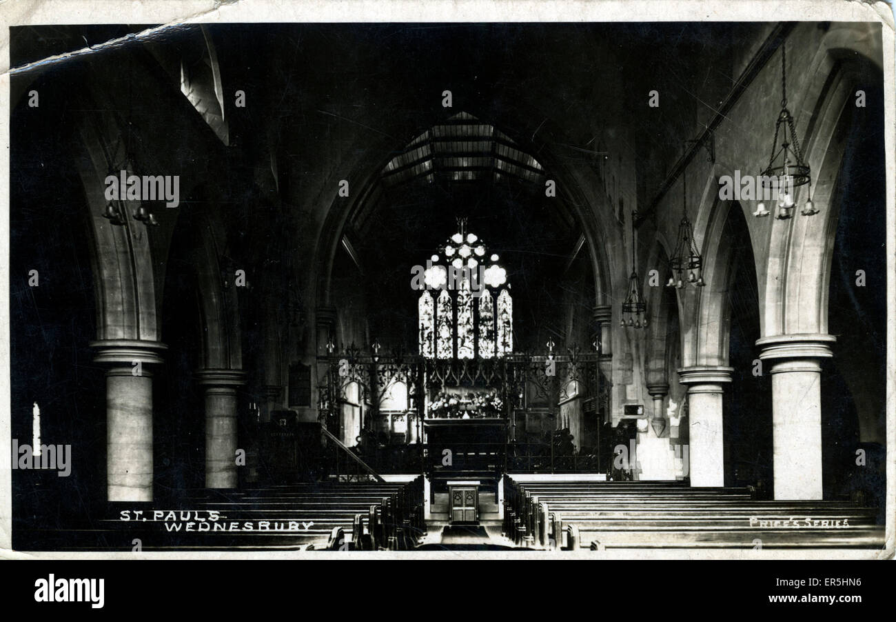 Interior of St Paul's Church, Wednesbury, Sandwell, near Walsall, Staffordshire, England.  1910s - Stock Image
