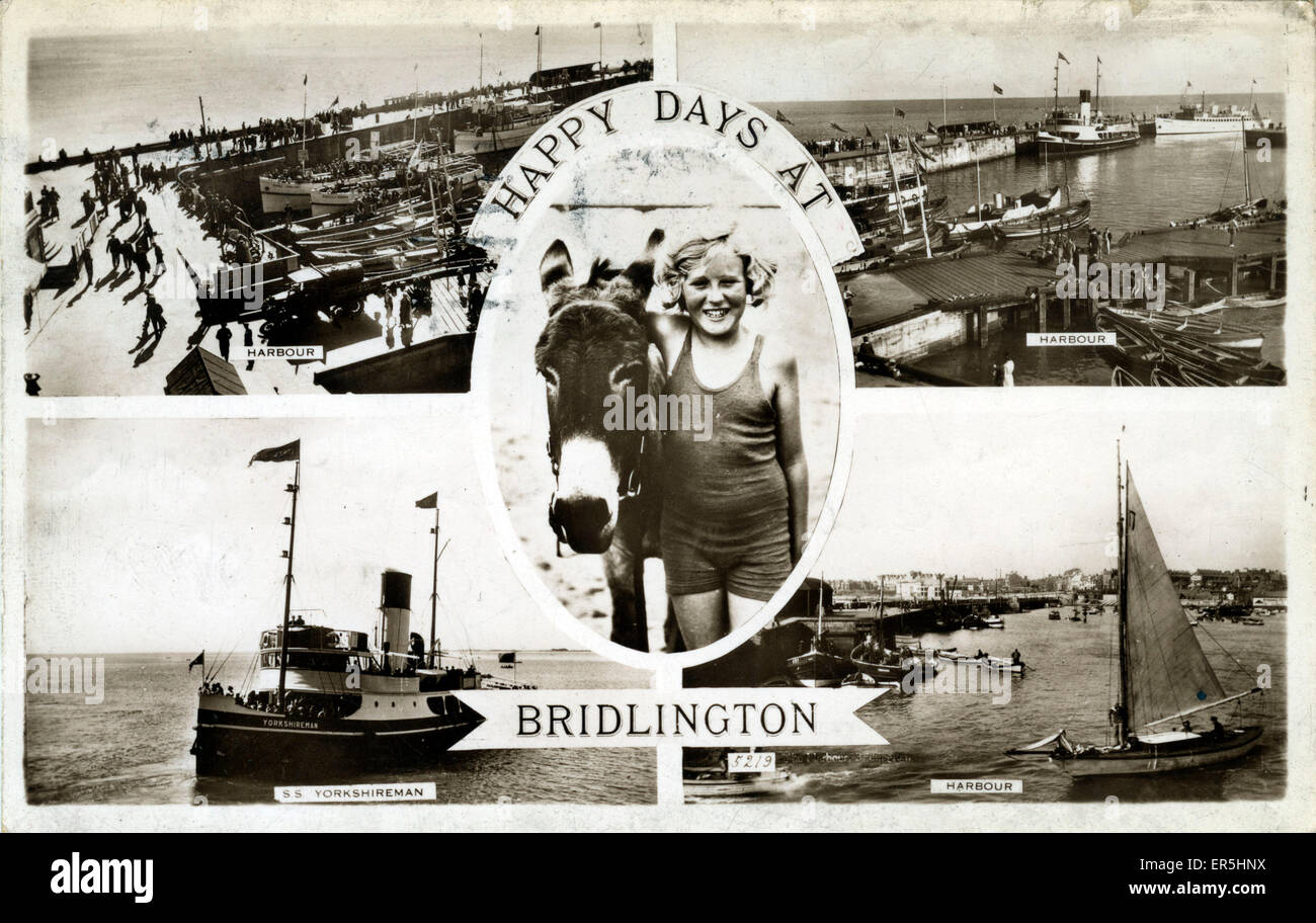 The Harbour, Bridlington, Yorkshire, England.  1949 - Stock Image