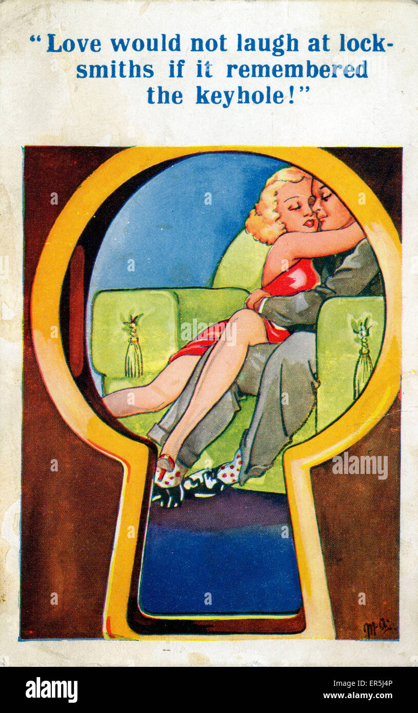 Comic Card, England. Signed MA  1951 - Stock Image