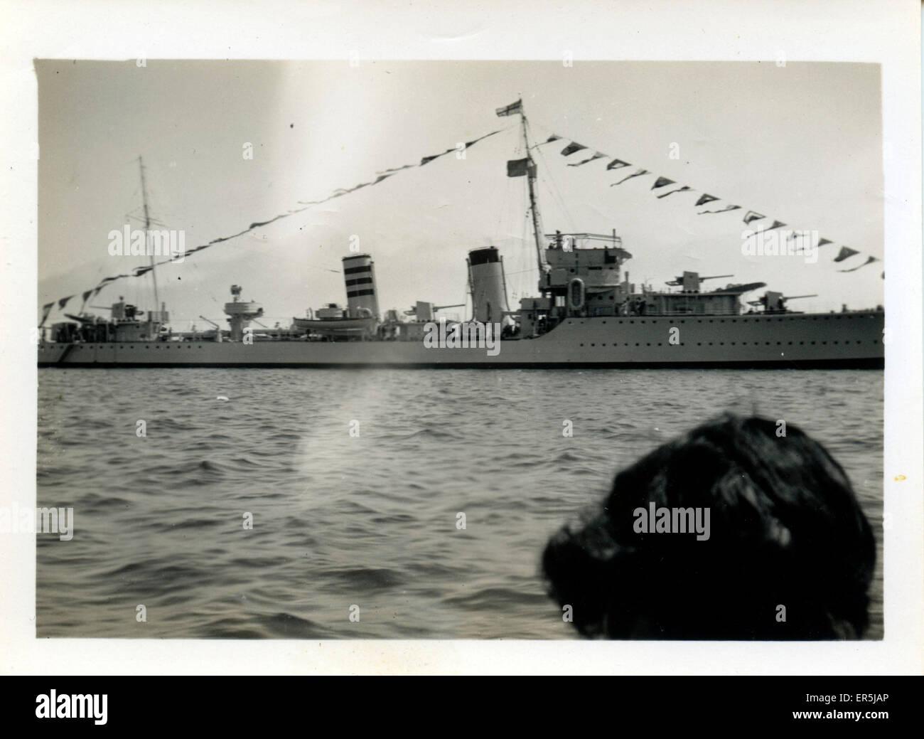 Destroyer HMS Codrington (D65), .  1940s - Stock Image