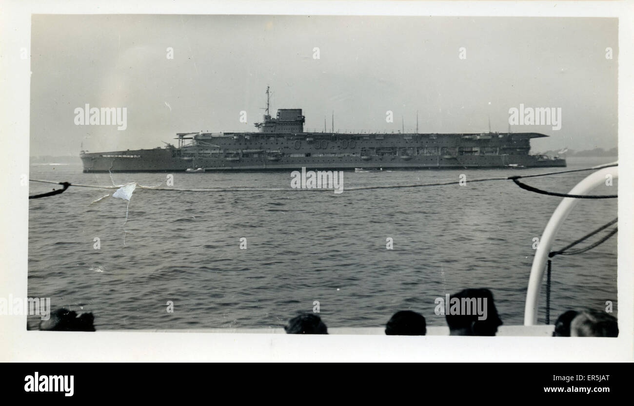 HMS Furious, . After conversion to aircraft carrier  1940s - Stock Image