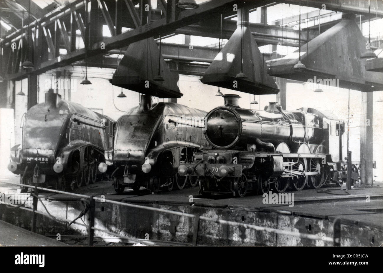 A4 Pacific Locomotives 'Sir Nigel Gresley' & 'Bittern' and 4-6-2 'Clan Castle', - Stock Image