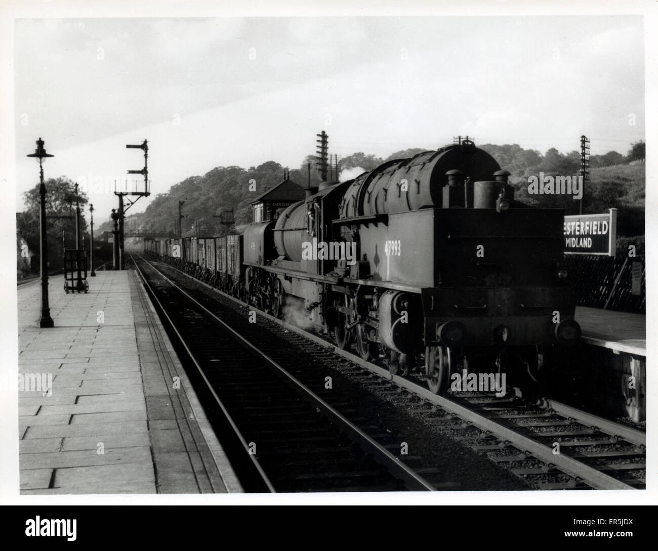 Midland Railway Station, Chesterfield, Derbyshire, England. Showing 47993 LMS Class Fowler & Beyer-Peacock - Stock Image