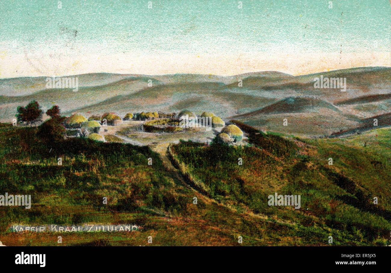 Kaffir Kraal (Cattle Enclosure), Zululand, KwaZulu-Natal, South Africa.  1900s Stock Photo