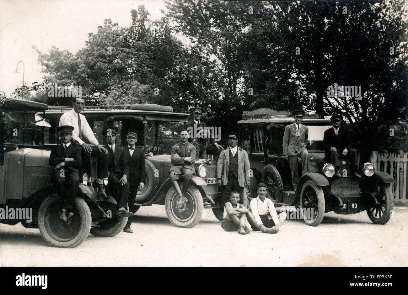 Vintage Landaulet Taxis/Cars 2 x Fiat and an OM Officine Meccaniche , Thought to be in Italy.  1920s - Stock Image