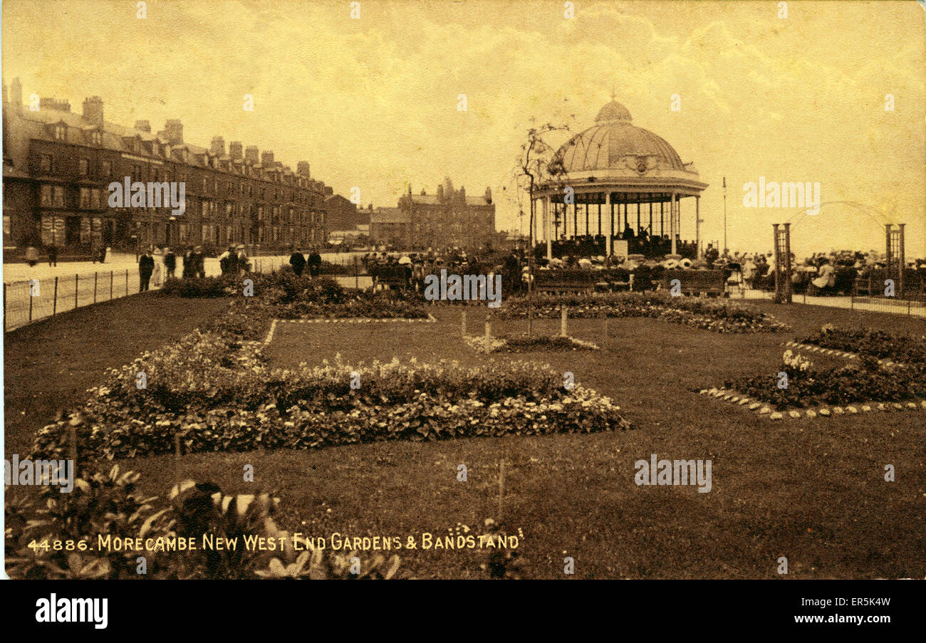West End Gardens and Bandstand, Morecambe, near Lancaster Stock ...