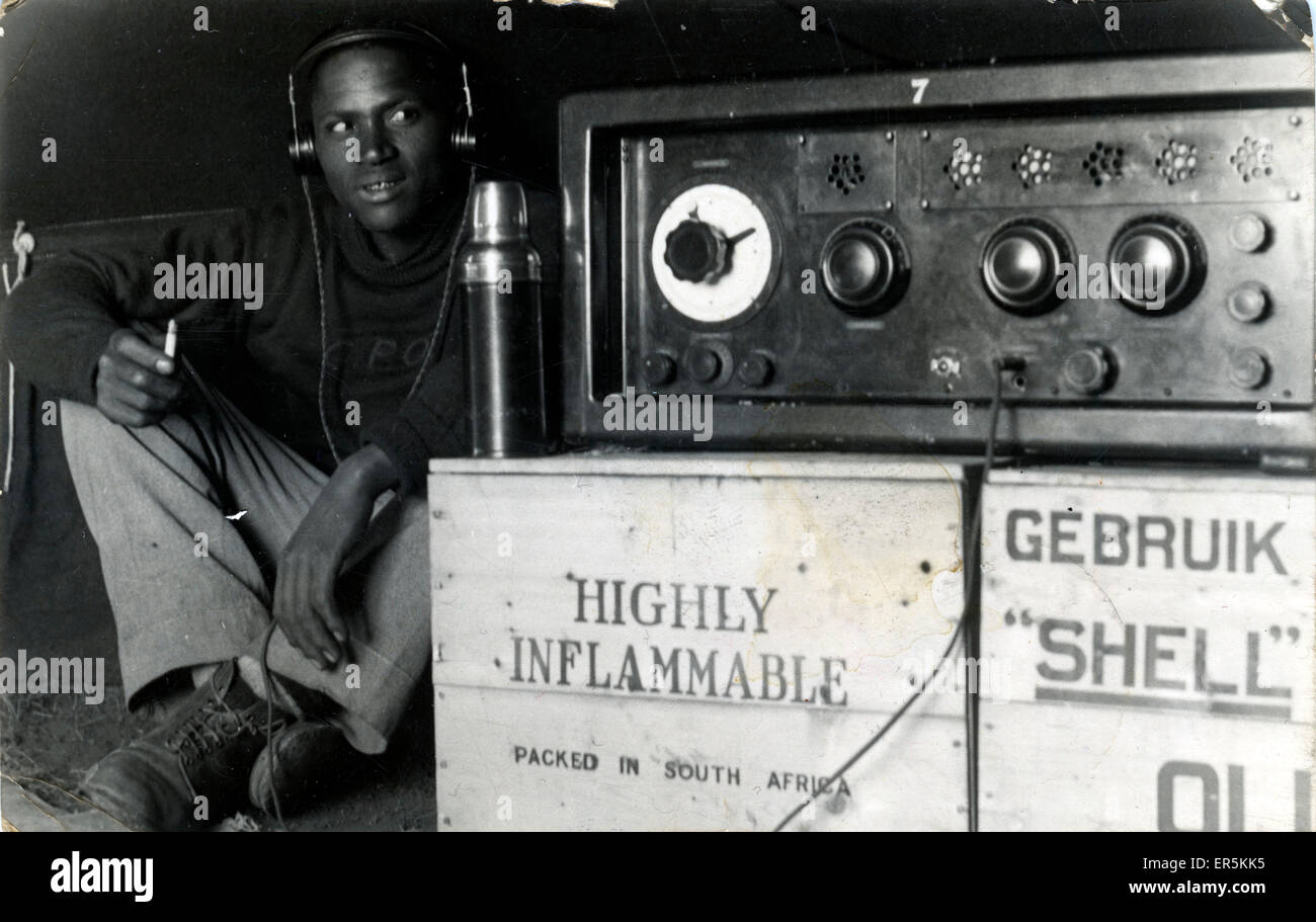 1938 Experimental Radio Broadcast from Grahamstown, Maclear, near Mthatha, Eastern Cape, South Africa. Showing James - Stock Image
