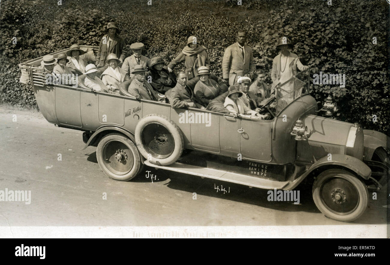 Vintage Lancia Charabanc, . Thought to be a Cadillac - White Heather Tours.  1924 - Stock Image