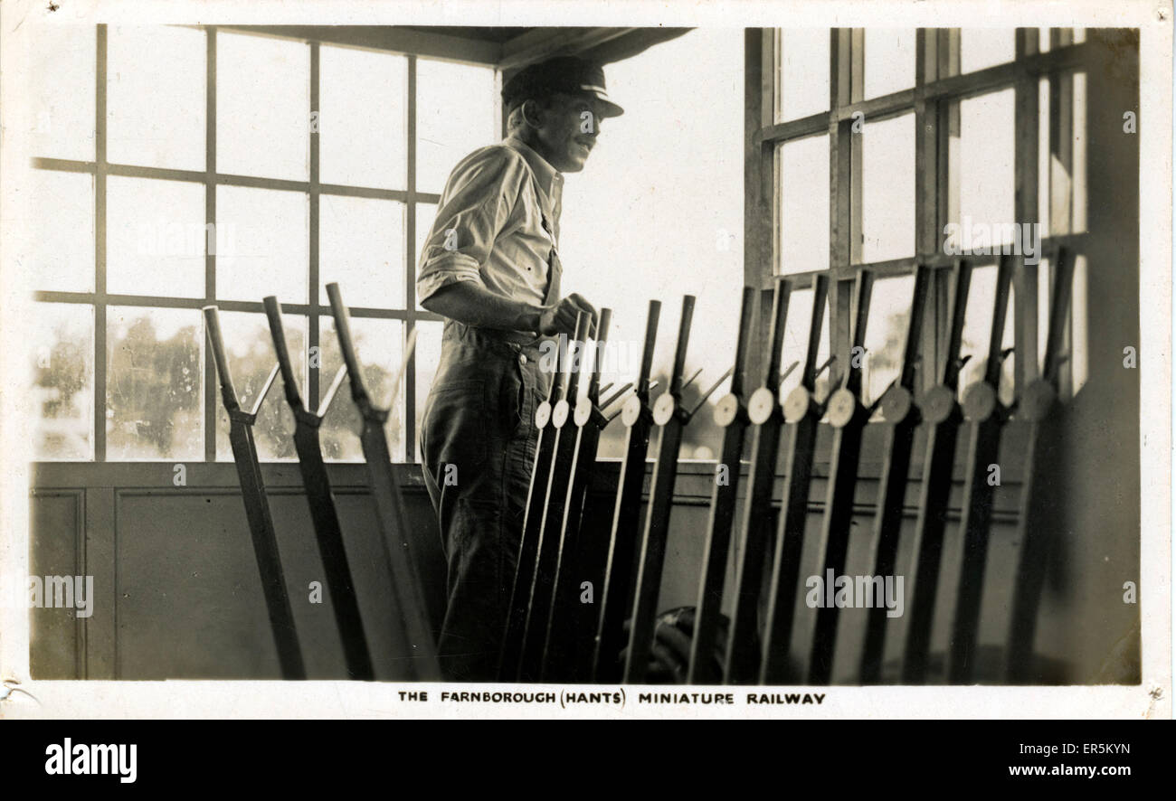 Miniature Railway Signal Box Interior, Farnborough, Hampshire, England.  1936-9 - Stock Image