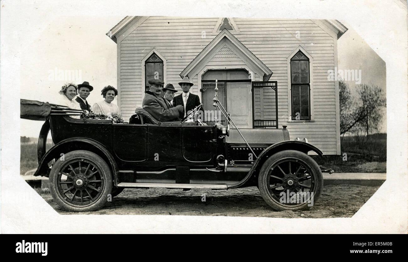 1913 Cadillac Vintage Car, Timber Church, Geneva, Switzerland.  1920s - Stock Image