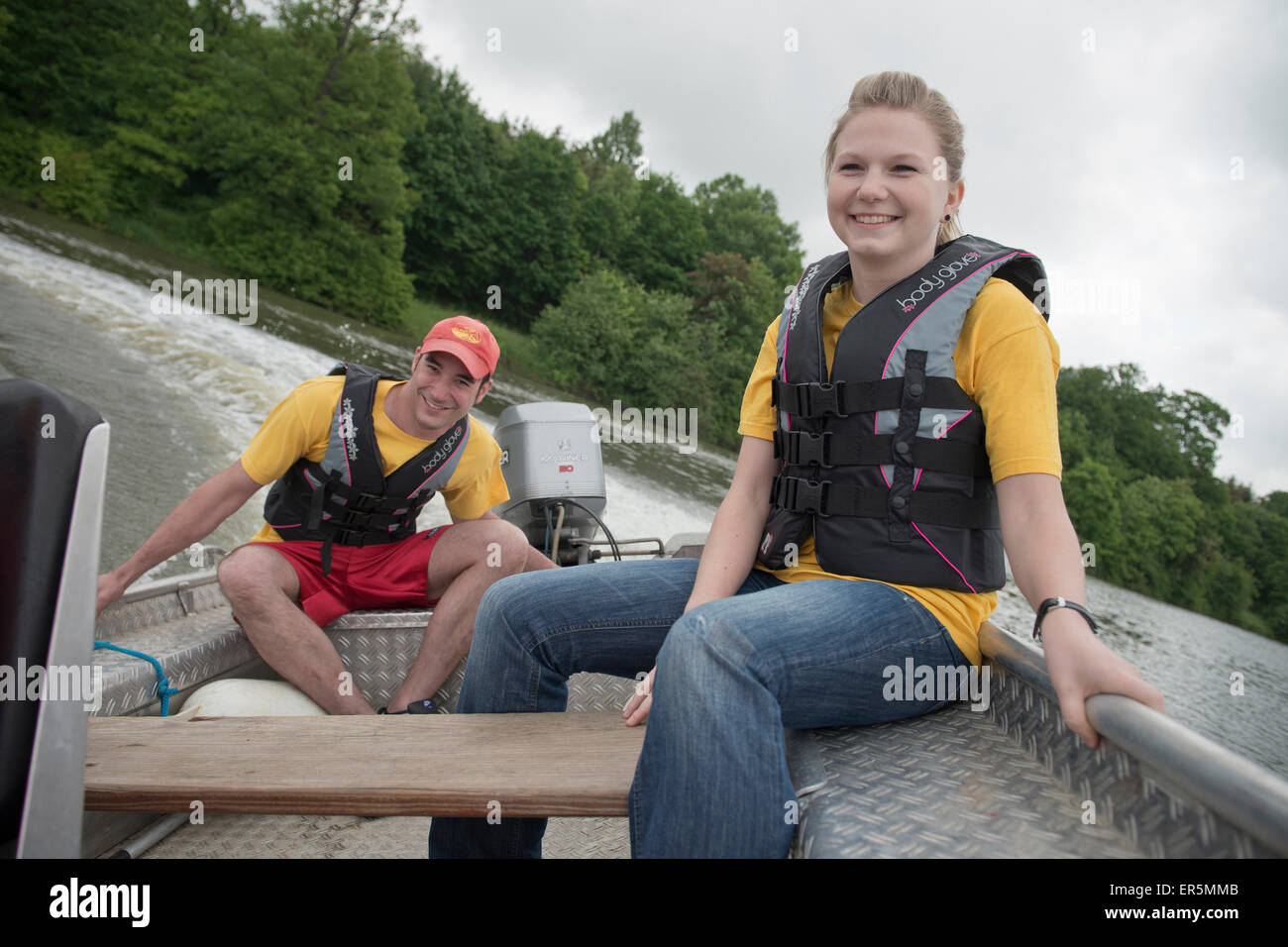 Members of the DLRG practicing rescue situations on a lake, German Life Saving Association, Rainau Buch, Aalen, Stock Photo