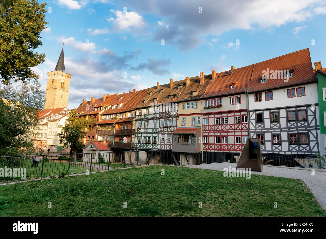 Kraemerbruecke with half-timbered buildings, Erfurt, Thuringia, Germany - Stock Image