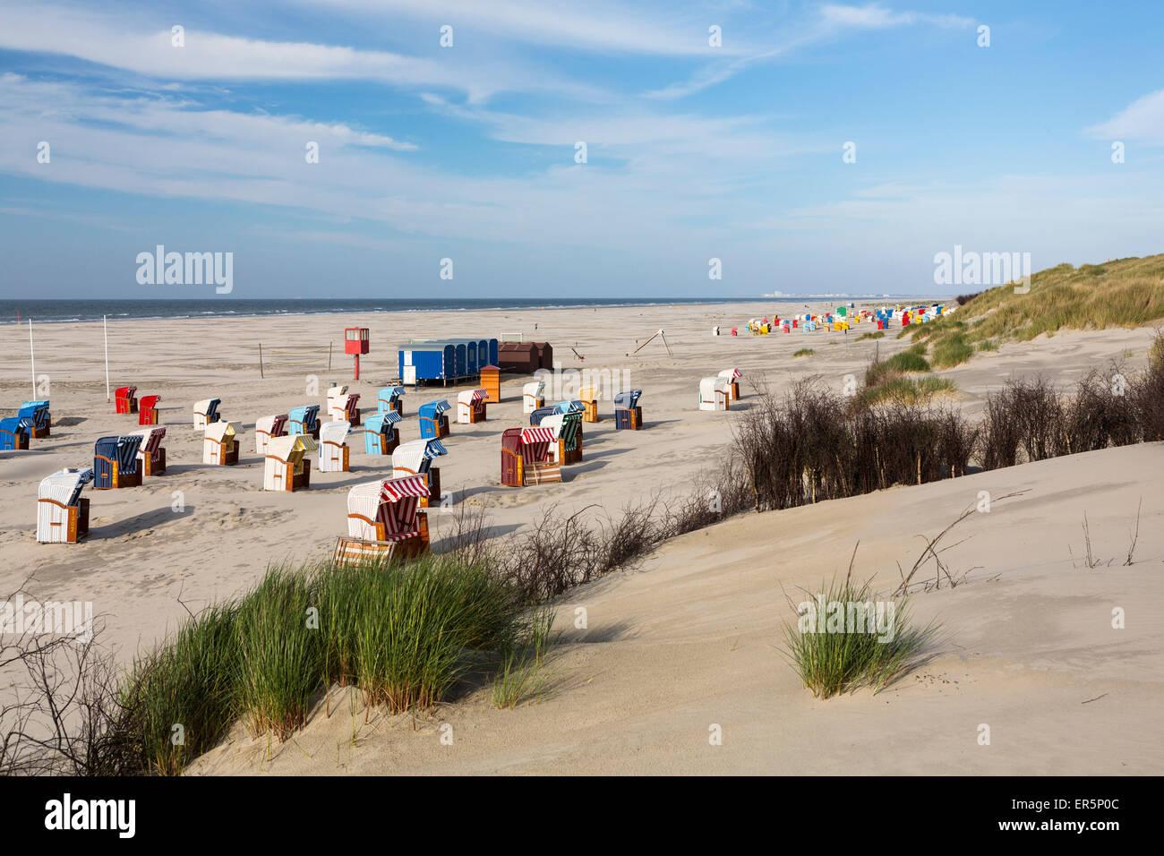 Beach chairs on the beach, Juist Island, North Sea, East Frisian Islands, East Frisia, Lower Saxony, Germany, Europe Stock Photo