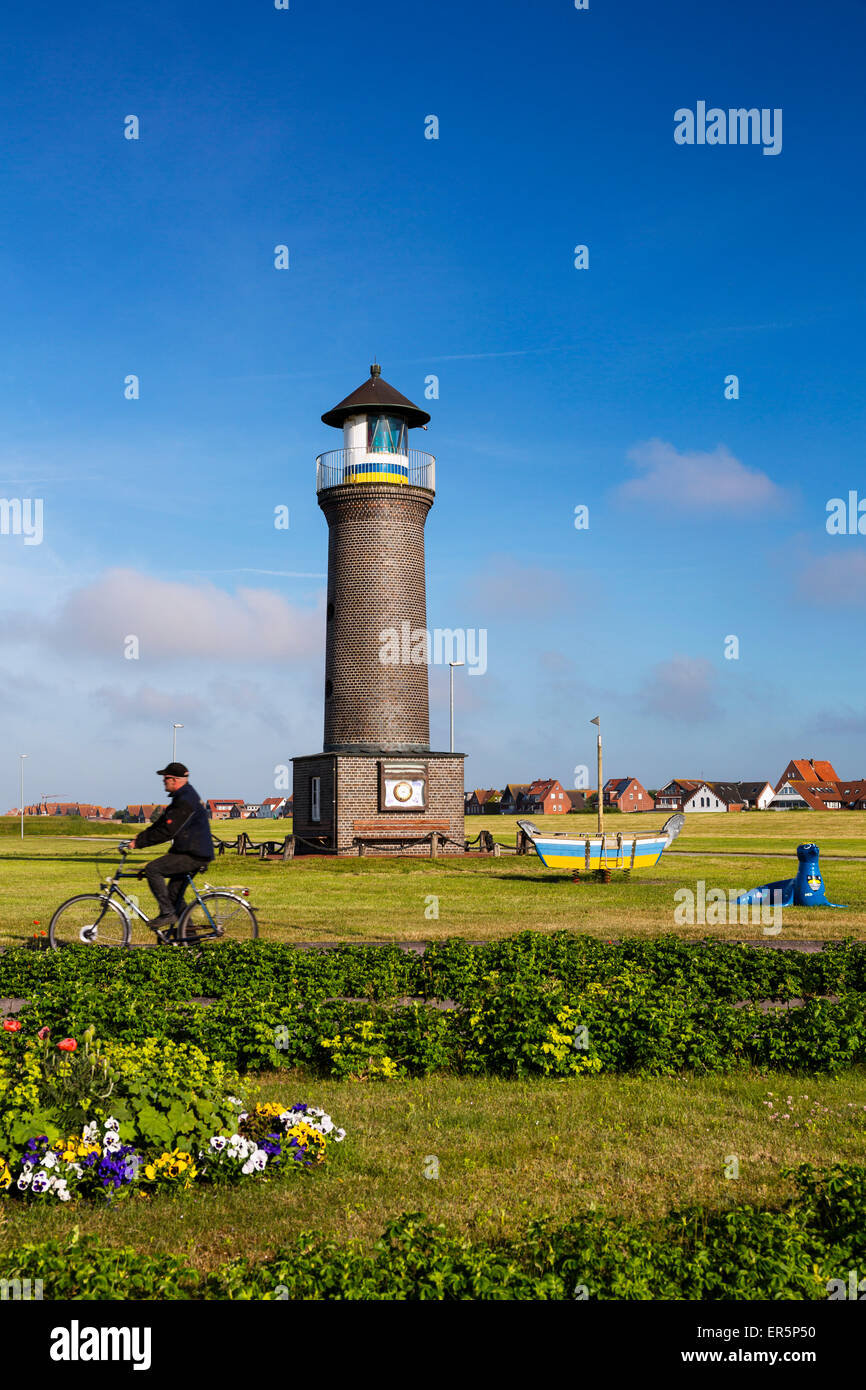 Lighthouse, Juist Island, Nationalpark, North Sea, East Frisian Islands, East Frisia, Lower Saxony, Germany, Europe - Stock Image