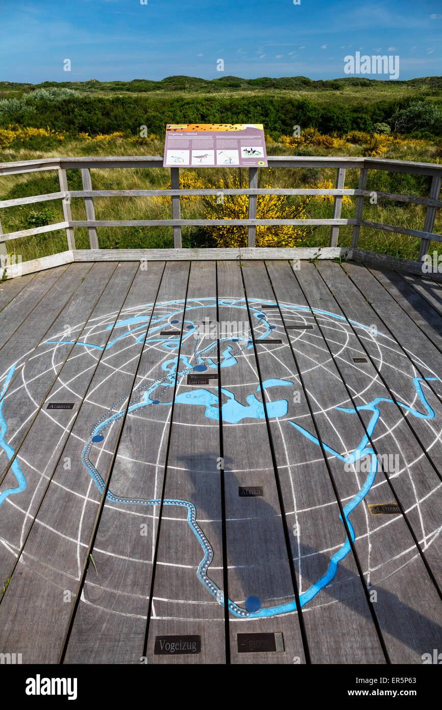 Otto Leege nature trail, bird migration map, Juist Island, Nationalpark, North Sea, East Frisian Islands, East Frisia, - Stock Image