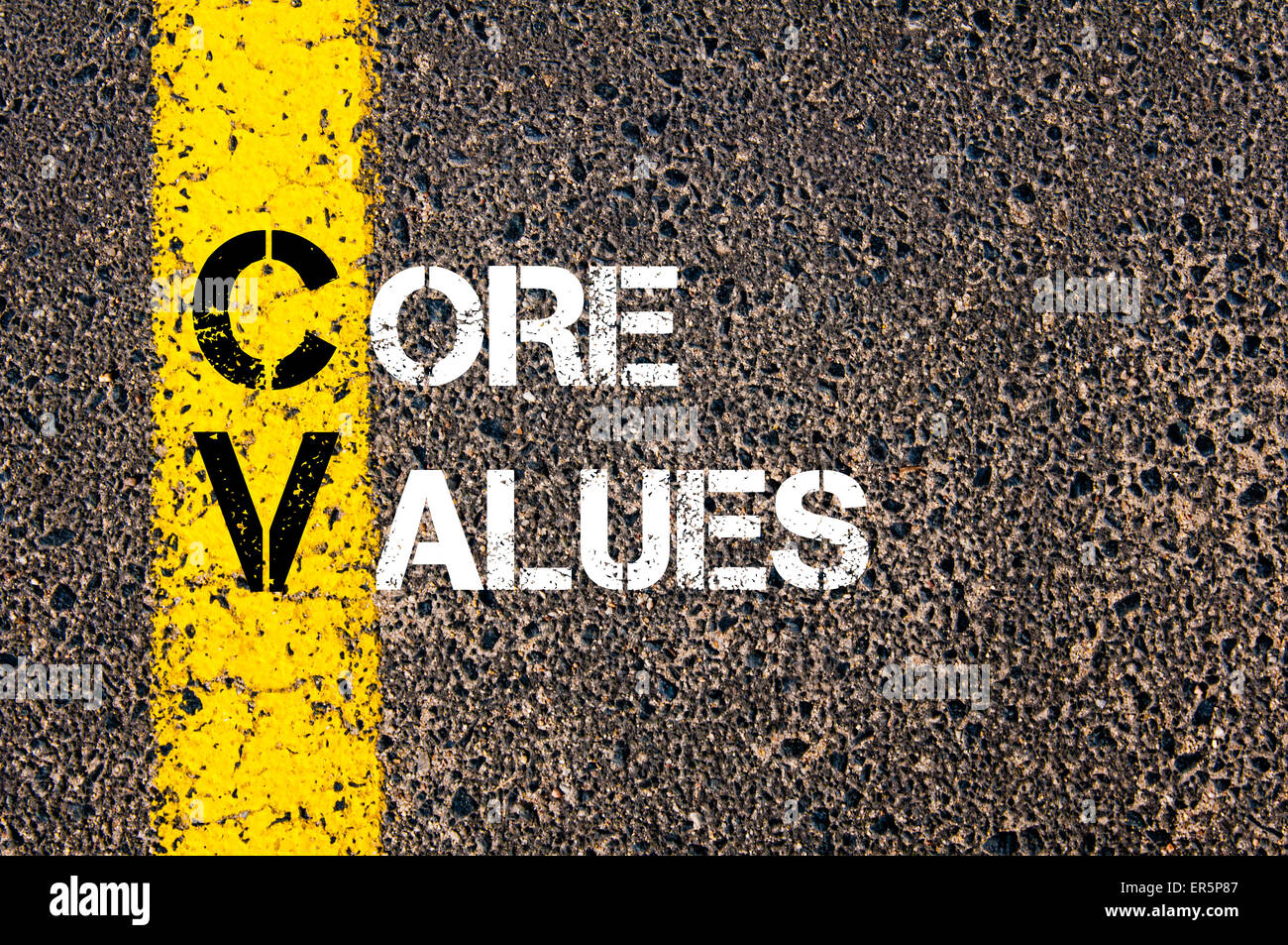 concept image of business acronym cv as core values written over