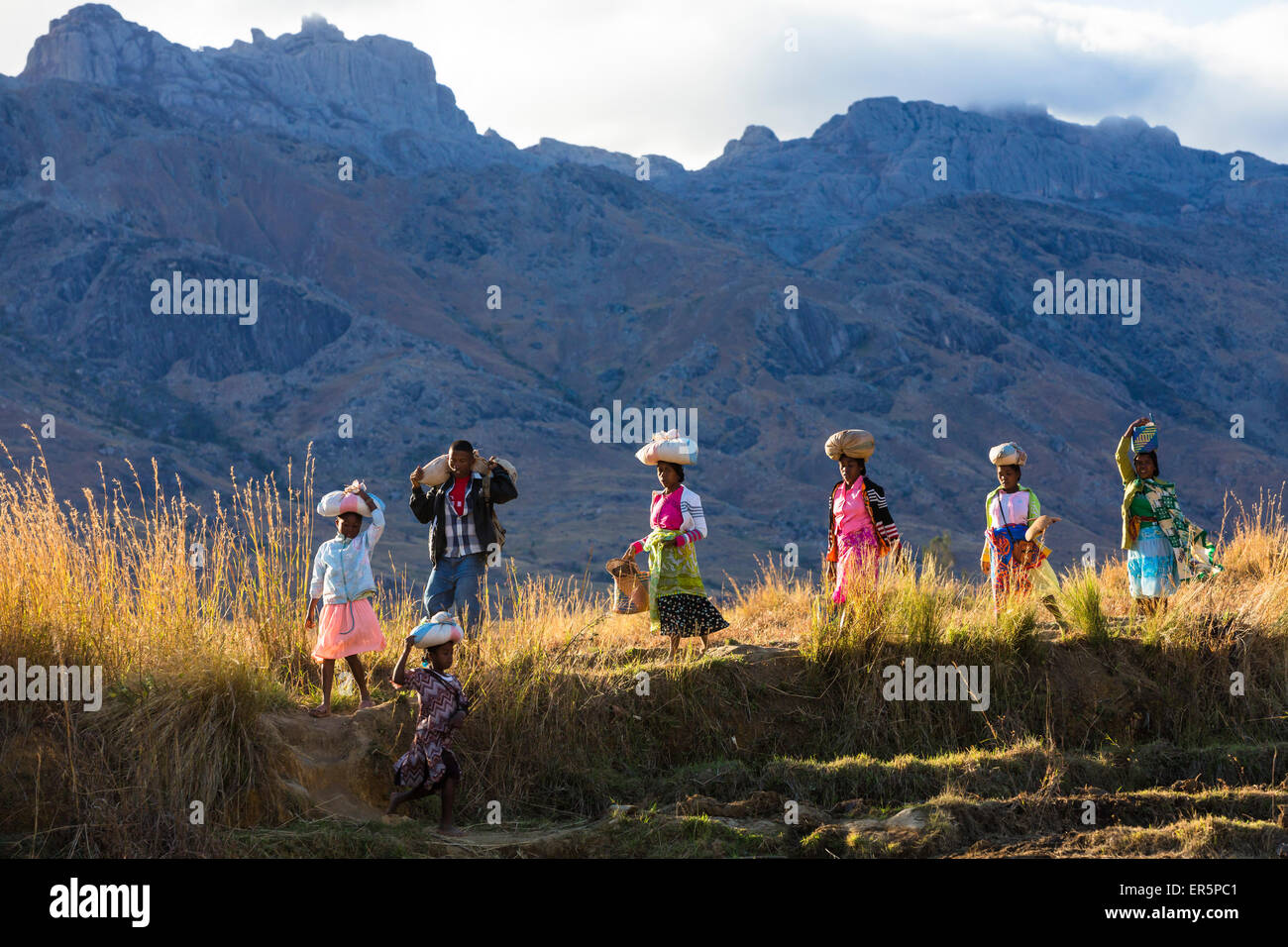 Malagasy people in the Tsaranoro Valley, highlands, South Madagascar, Africa - Stock Image