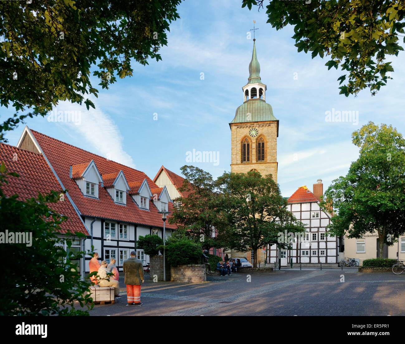 Konrad-Adenauer Square with Saint Aegidius church, Rheda-Wiedenbrueck, North Rhine-Westphalia, Germany - Stock Image