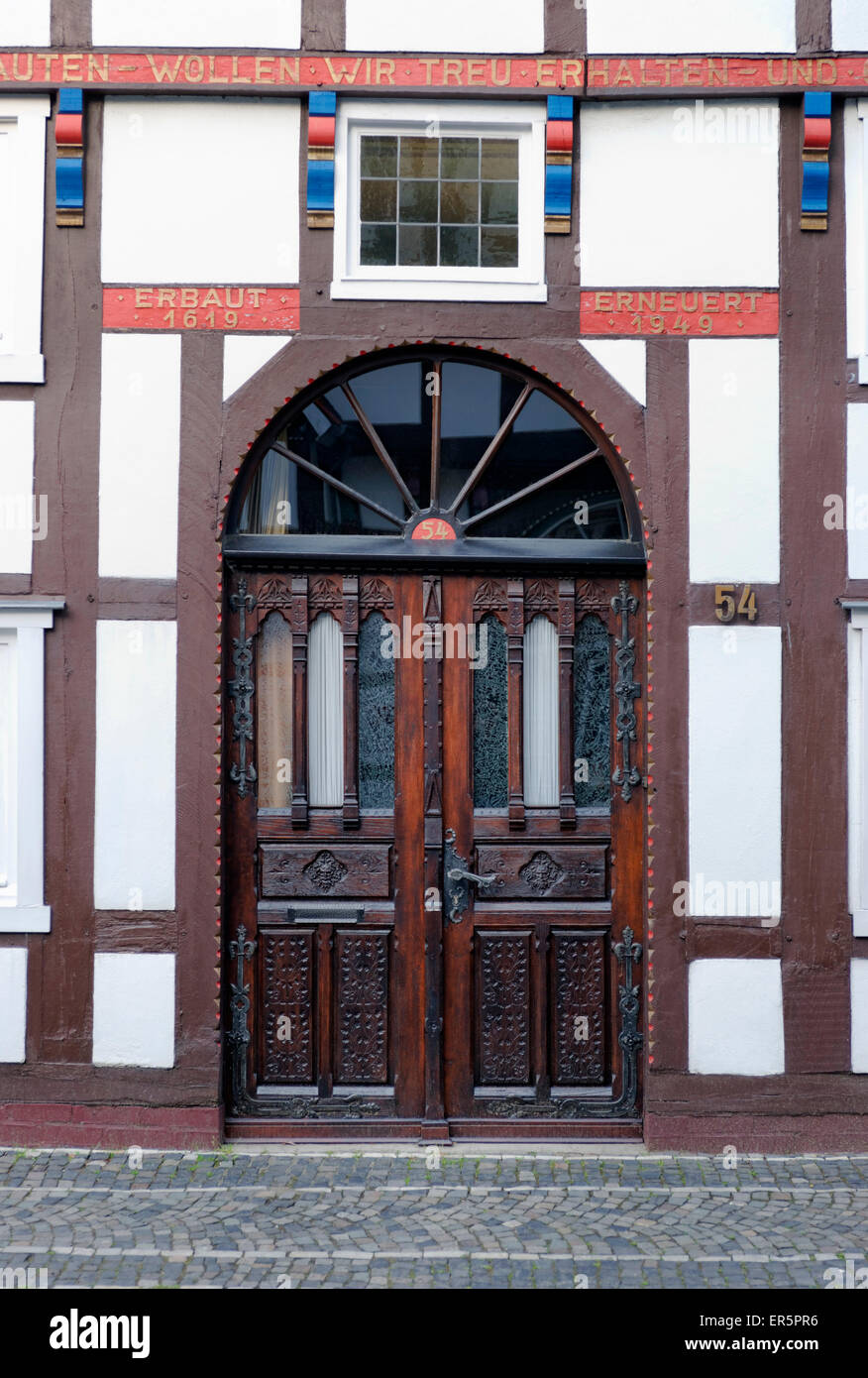 Entrance to a half-timbered house in Langenstrasse in Wiedenbrueck, Rheda-Wiedenbrueck, North Rhine-Westphalia, - Stock Image