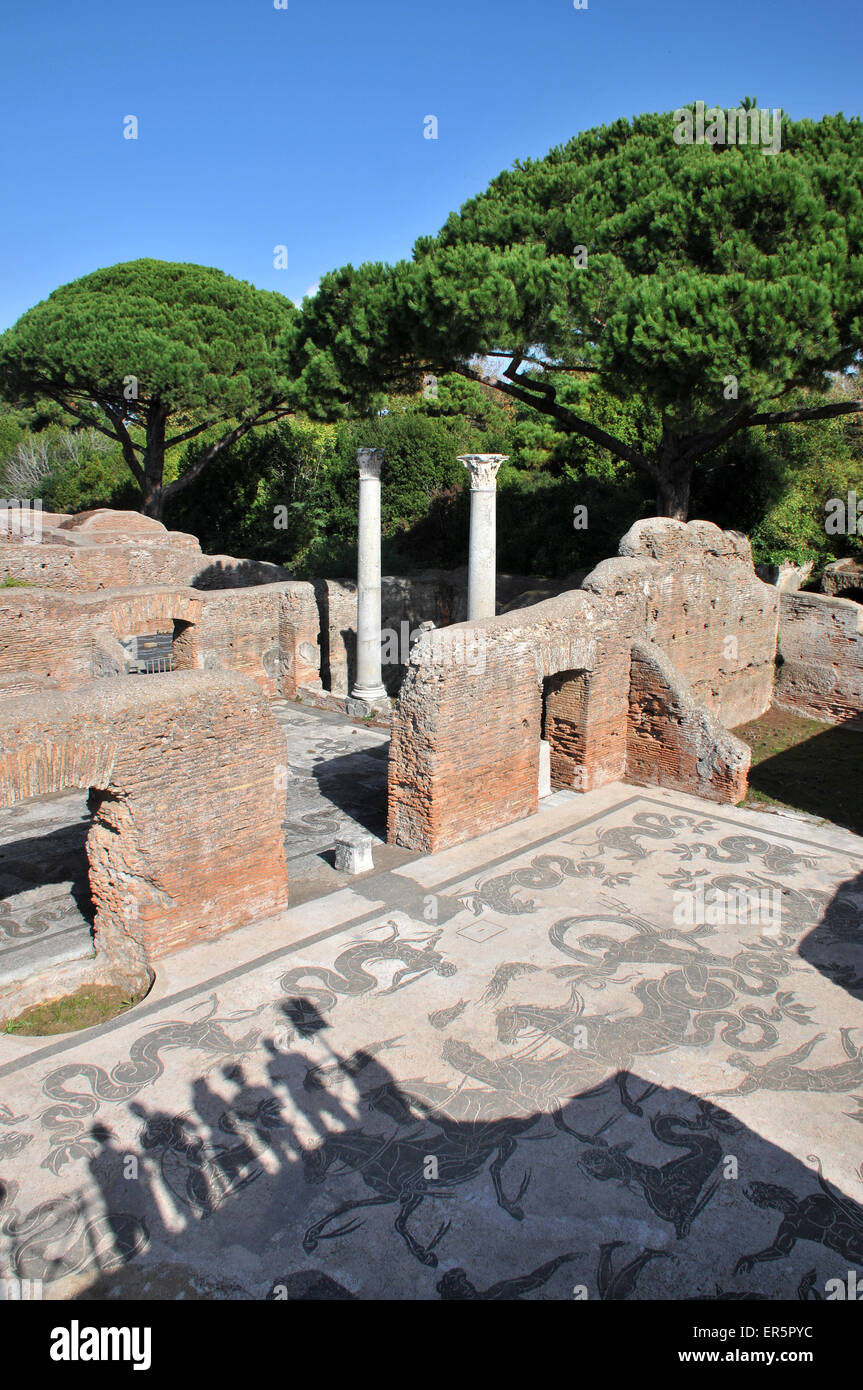 Shadows of people looking at the excavations of Ostia Antica and Terme di Nettuno, Ostia near Rome, Italy - Stock Image