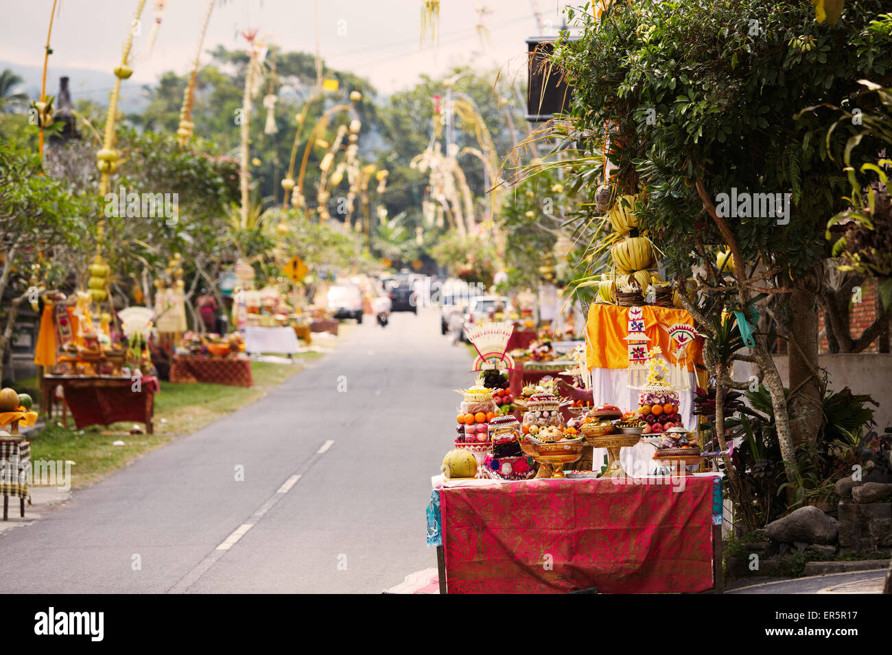 Decorated offering tables along a street, Tugu Br. Tinungan, Bali, Indonesia - Stock Image