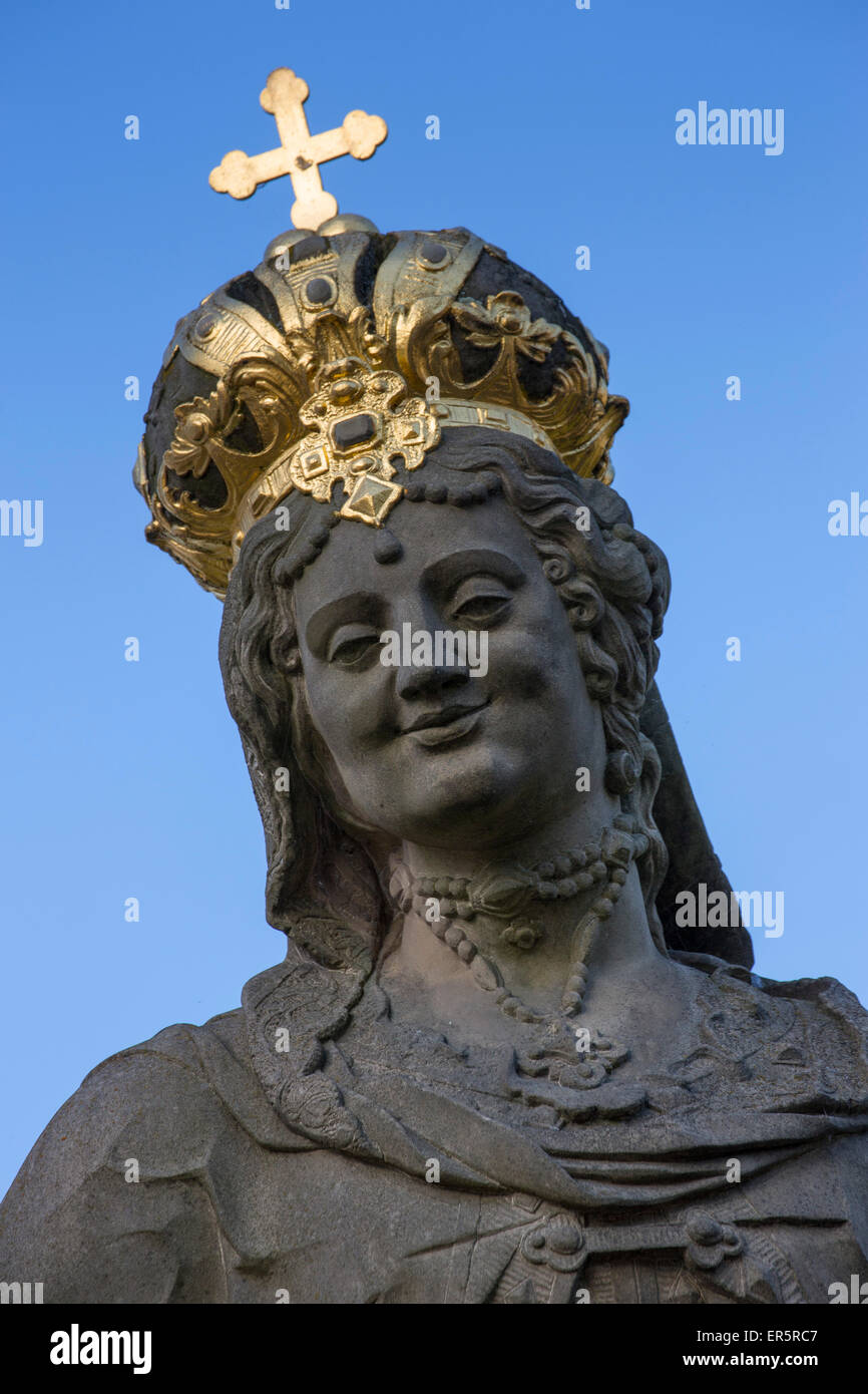 Statue on Untere Bruecke bridge, Bamberg, Franconia, Bavaria, Germany - Stock Image