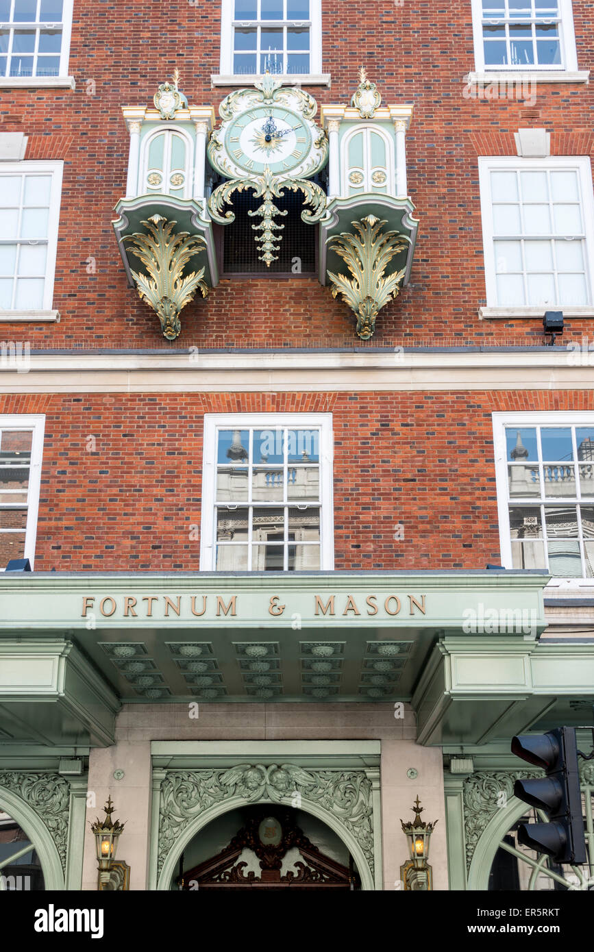 Fortnum's Chime Clock, Fortnum & Mason Department Store, Piccadilly, City of Westminster, London, England, - Stock Image
