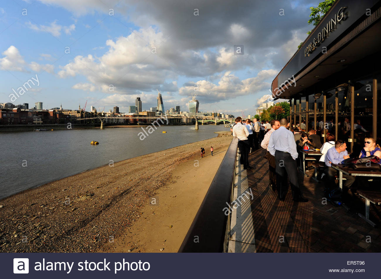 After work drink, pub along the Thames River, South Bank, London, England, Great Britain, United Kingdom - Stock Image