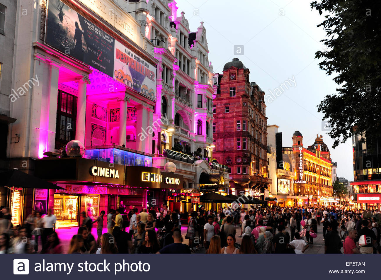 Empire Cinema, nightlife at Leicester Square, Soho quarter, West End, London, England, Great Britain, United Kingdom - Stock Image