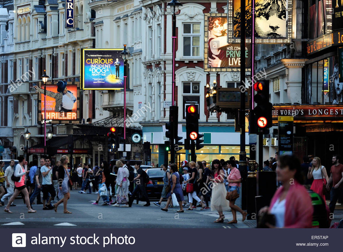 Theatres on Shaftesbury Avenue, Soho quarter, West End, London, England, Great Britain, United Kingdom - Stock Image