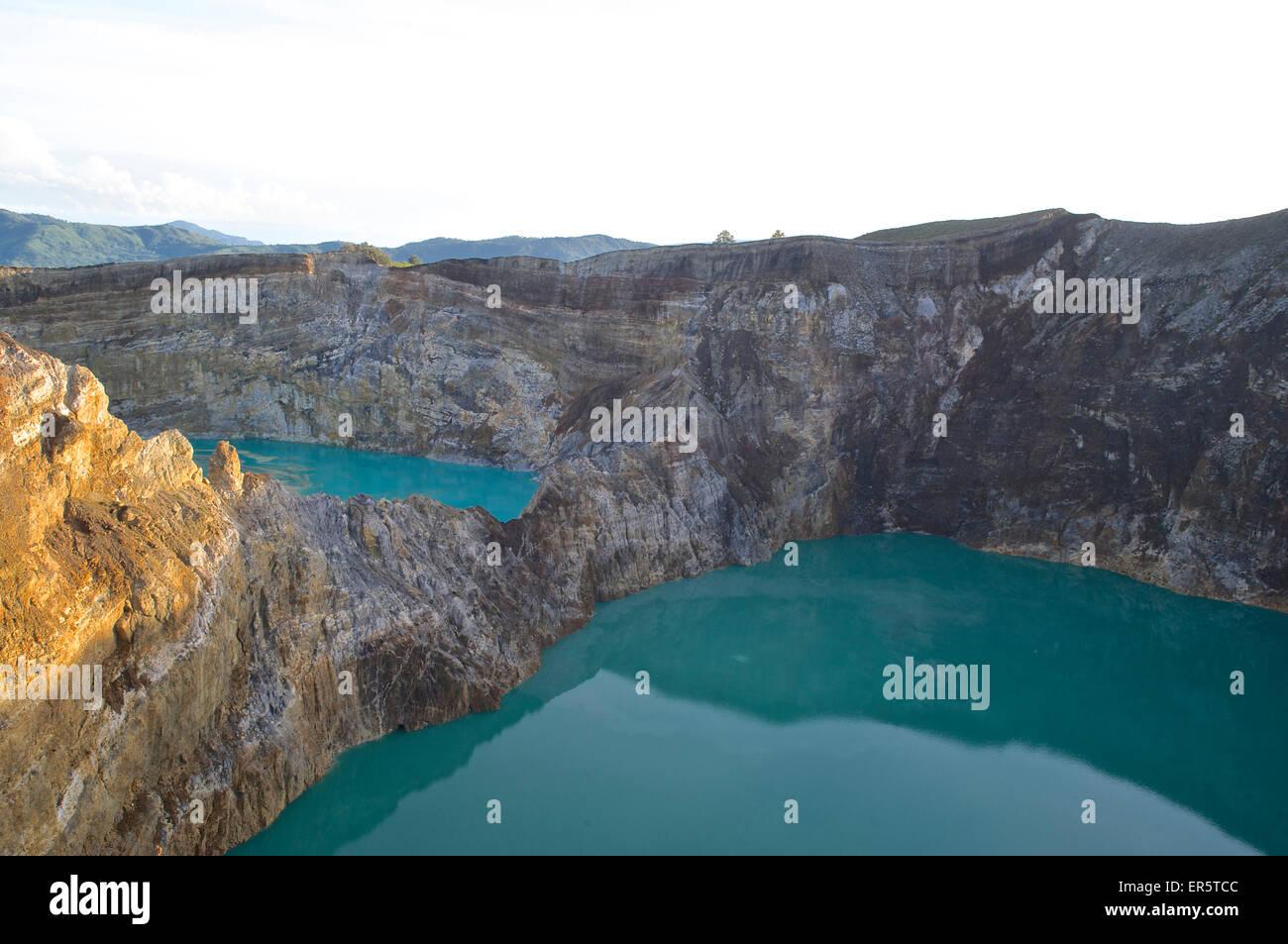 View down to the coloured lakes of vulcano Kelimutu, Flores, Nusa Tenggara Timur, Lesser Sunda Islands, Indonesia, - Stock Image