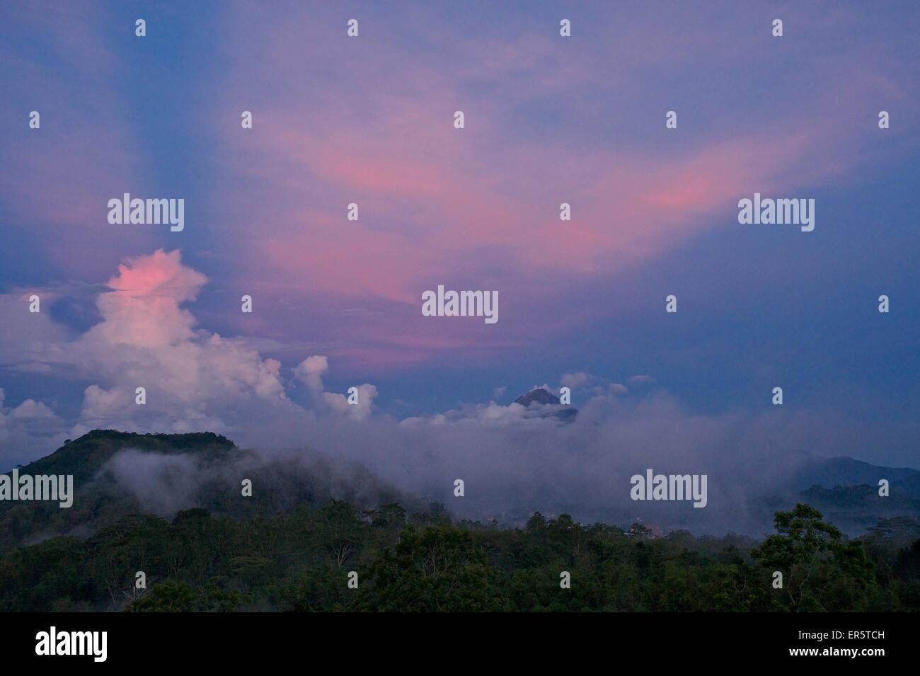 Vulcanos near Bajawa in the evening dawn, Flores, Nusa Tenggara Timur, Lesser Sunda Islands, Indonesia, Asia - Stock Image