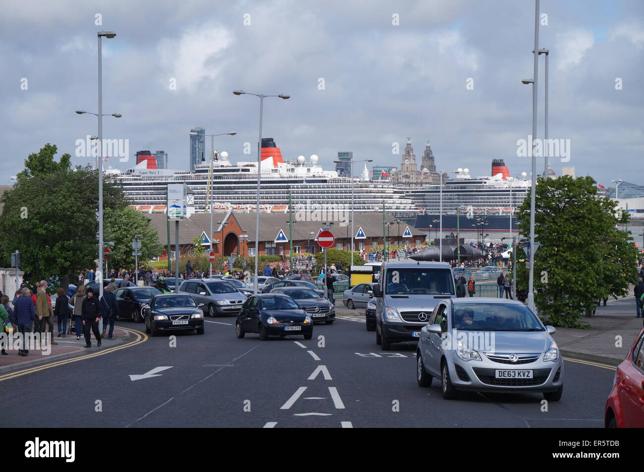 Three Cunard Liners On The Mersey From Woodside,Wirral - Stock Image